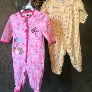 NWOT! Lot 2 soft footed onesies w LS 6/9 Months